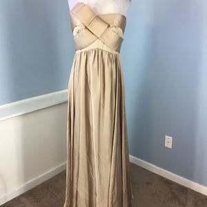 JS Coll brown gold Strapless Formal Gown Dress 4 6